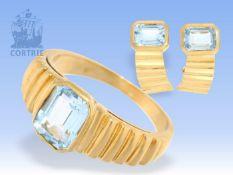 Ohrclips/Ring: klassisches, handgearbeitetes vintage Schmuckset mit blauen Farbsteinen 1. Ring ca.