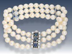 Armband: hochwertiges Akoya-Perlen-Armband mit Goldschmiedeschließe, Juwelier Hintze am