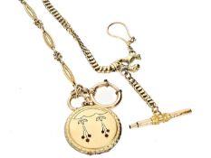 Uhrenkette: Konvolut von 2 ungewöhnlichen, goldenen Taschenuhrenketten, um 1870-1900, dabei eine