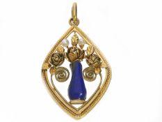 Anhänger: filigran gearbeiteter Goldanhänger mit Lapislazuli und kleinen Perlen, vermutlich ca. 1950