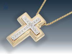 Kette/Anhänger: zierliche Collierkette mit hochwertigem Brillant-Kreuzanhänger Ca. 43cm lang, ca.