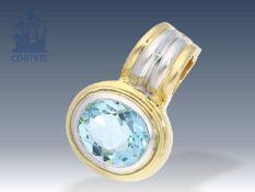 Anhänger: hochwertiger Clipanhänger mit sehr schönem Aquamarin von ca. 3ct Ca. 25 × 17mm, ca. 11,1g,