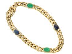 Armband: klassisches, massives vintage Panzerarmband mit Saphir- und Smaragdbesatz, ehemals sehr