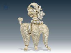 """Brosche: goldene, außergewöhnliche Brosche mit Diamantbesatz, Motiv """"Pudel"""", 60er Jahre Ca. 33 ×"""
