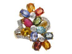 Ring: sehr dekorativer und ehemals sehr teurer vintage Cocktail-Ring mit Brillanten und hochwertigen