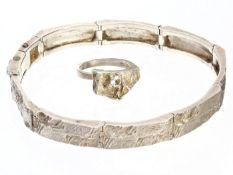 Ring/Armband: interessantes vintage Silberarmband aus Sterlingsilber mit passendem Ring, seltener