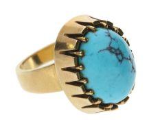 Ring: schwerer, handgearbeiteter Türkis-Goldschmiedering mit Matrix Ca. Ø17,5mm, RG55, ca. 16,8g,