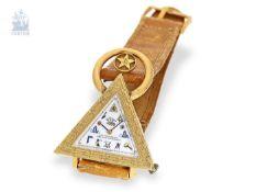 Armbanduhr: seltene vintage Freimaurer-Armbanduhr, Schweiz um 1965 Ca. 40 × 47mm, goldplated,
