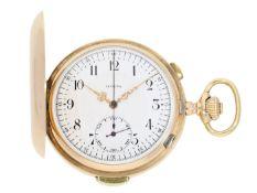 Taschenuhr: Goldsavonnette mit Repetition und Chronograph, Invicta Schweiz No.92411, ca. 1900 Ca.