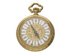 Anhängeuhr: hochwertige vintage Damentaschenuhr/Anhängeruhr in 18K Gold, Bucherer Ca. Ø30mm, ca.