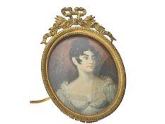 Miniatur mit Elfenbein-Malerei, Frankreich 19. Jahrhundert Ca. 95 × 65mm, Metallrahmen mit