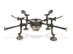 """Silber: seltenes, antikes englisches """"Dish Cross oder Trivet"""" zum Warmhalten von Platten/Tellern,"""
