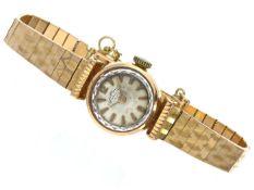 """Armbanduhr: goldene, vintage Damenuhr der Marke """"Dichiwatch"""", 18K Gold, um 1950 Ca. Ø17mm, ca."""