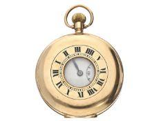Taschenuhr: englische Halbsavonnette, um 1925, Gold Ca. Ø48mm, ca. 71g, 9K Gold, Sprungdeckel mit