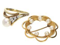 Ring/Brosche: vintage Damenring mit Perle und Brillanten sowie eine Brosche 1. Ring ca. Ø18mm, RG57,