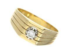 Ring: vintage Brillantring Ca. Ø19,5mm, RG61, ca. 7,6g, 18K Gold, massive, im Verlauf gefertigte