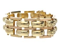 Armband: schweres und breites Goldschmiedeband aus den 50er Jahren Ca. 20cm lang, ca. 28mm breit,