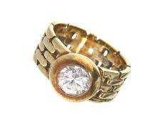 Ring: goldener vintage Kettenring mit farblosem Stein Ca. Ø17,5mm, RG55, ca. 10,8g, 14K Gold,
