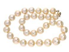 Kette: feine Perlenkette, sehr feine Qualität, vermutlich Südsee Ca. 45cm lang, ca. 99,5g, schöne