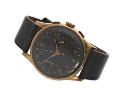 """Armbanduhr: roségoldener, großer Chronograph mit schwarzem Zifferblatt, """"Chronograph Suisse"""