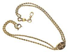 Uhrenkette: antike Halsuhrenkette, um 1850, massiv Gold Ca. 28cm lang, ca. 12g, 14K Gold,