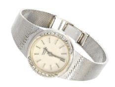 """Armbanduhr: schwere vintage Damenuhr der Marke """"Pallas"""", 14K Weißgold, Diamantbesatz Ca. 18cm"""