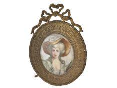 Miniatur mit Elfenbein-Malerei, Frankreich 19. Jahrhundert Ca. 85 × 65mm, Metallrahmen mit