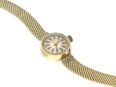 Armbanduhr: goldene Damenuhr, Tissot, 50er Jahre Ca. 19,5cm lang, ca. 19g, 14K Gold, ca. Ø16mm,