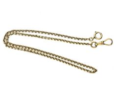 Taschenuhr: hochwertige Taschenuhrenkette in 14K Gold, massive Qualität Ca. 42cm lang, ca. 18g,