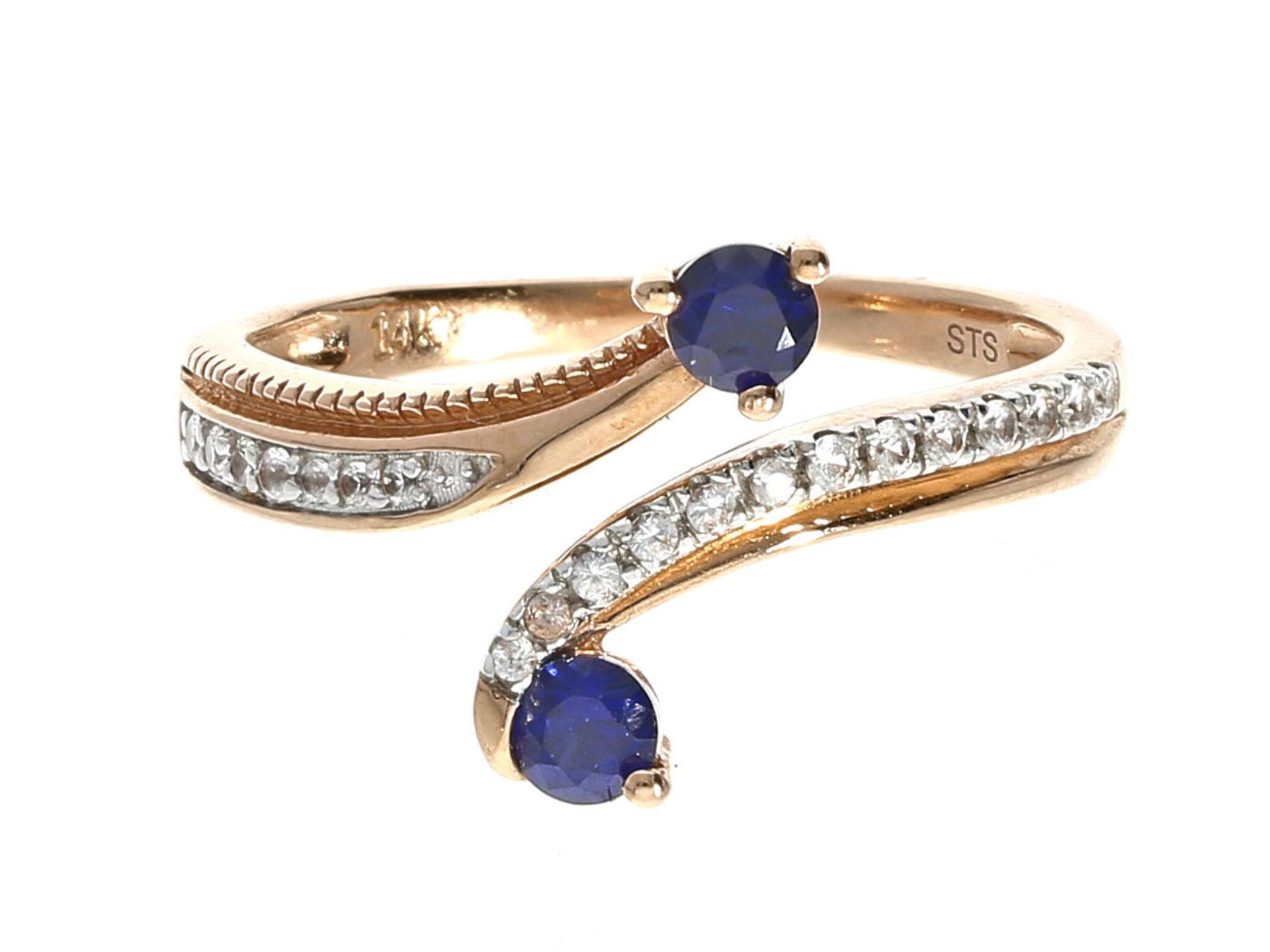 Los 6038 - Ring: ausgefallener Saphirring, Rotgold Ca. Ø17mm, RG53, ca. 2,5g, 10K Rotgold, 2 sehr schöne