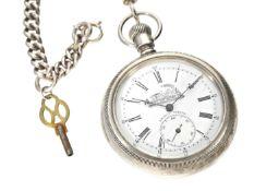 Taschenuhr: schwere amerikanische Eisenbahneruhr mit dazugehöriger Uhrenkette, um 1900 Ca. Ø58mm,