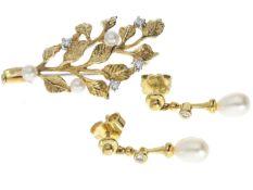 Brosche/Ohrstecker: vintage Goldschmiede-Schmuckset, besetzt mit Perlen und Diamanten 1. Brosche ca.