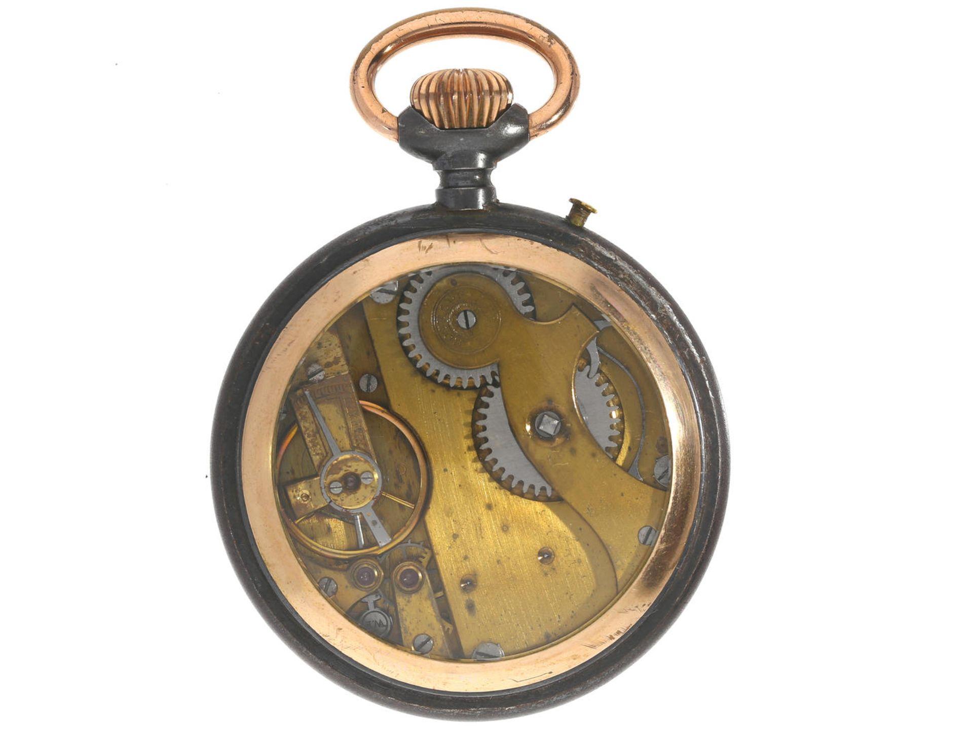 Taschenuhr: ungewöhnliche Herrenuhr mit schwarzem Emaillezifferblatt, Roskopf G.F 1a, um 1900 Ca. - Bild 3 aus 3