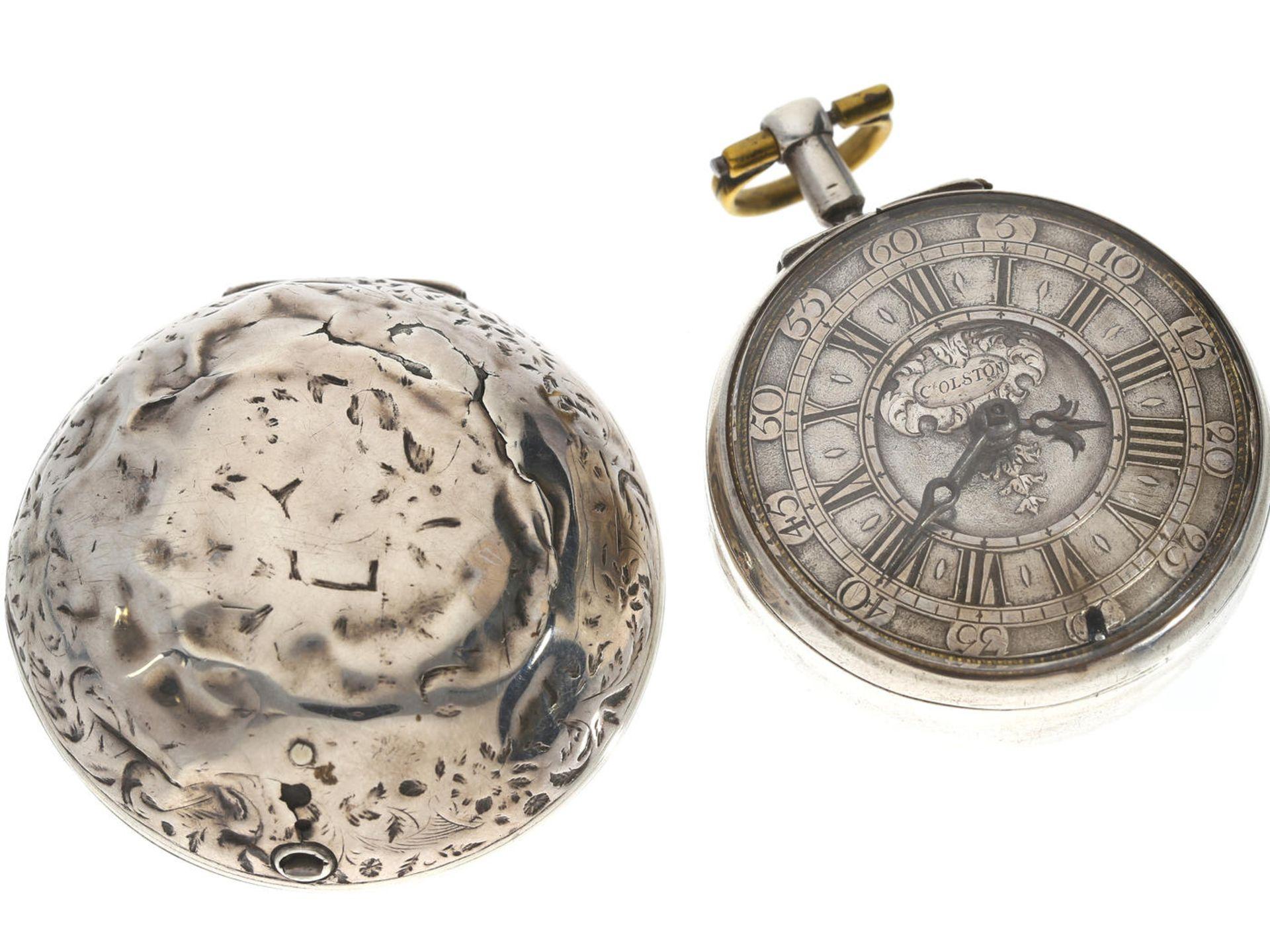 Los 6056 - Taschenuhr: museale, ganz frühe englische Doppelgehäuse-Spindeluhr, Richard Colston (1682-1709),