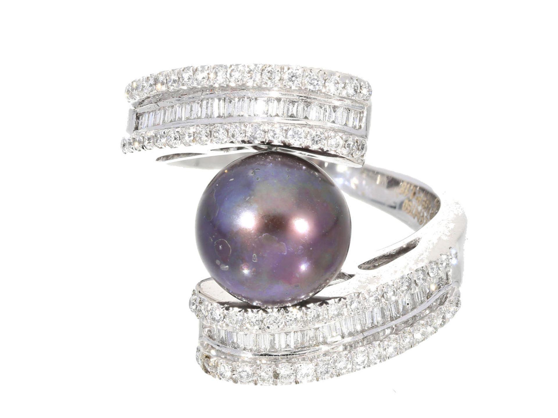 Los 6025 - Ring: neuwertiger Diamantring mit Tahiti-Zuchtperle, ungetragen aus Juweliers-Auflösung, NP 3.400€