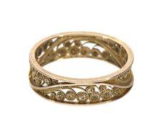 Ring: vintage Goldschmiedering, Filigran-Technik, norddeutsch, 60er Jahre Ca. Ø18,5mm, RG58, ca. 2,