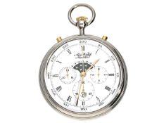 Taschenuhr: Chronograph mit Mondphase und Datum, Aero Watch Neuchatel, 2. Hälfte 20.Jh. Ca. Ø47mm,