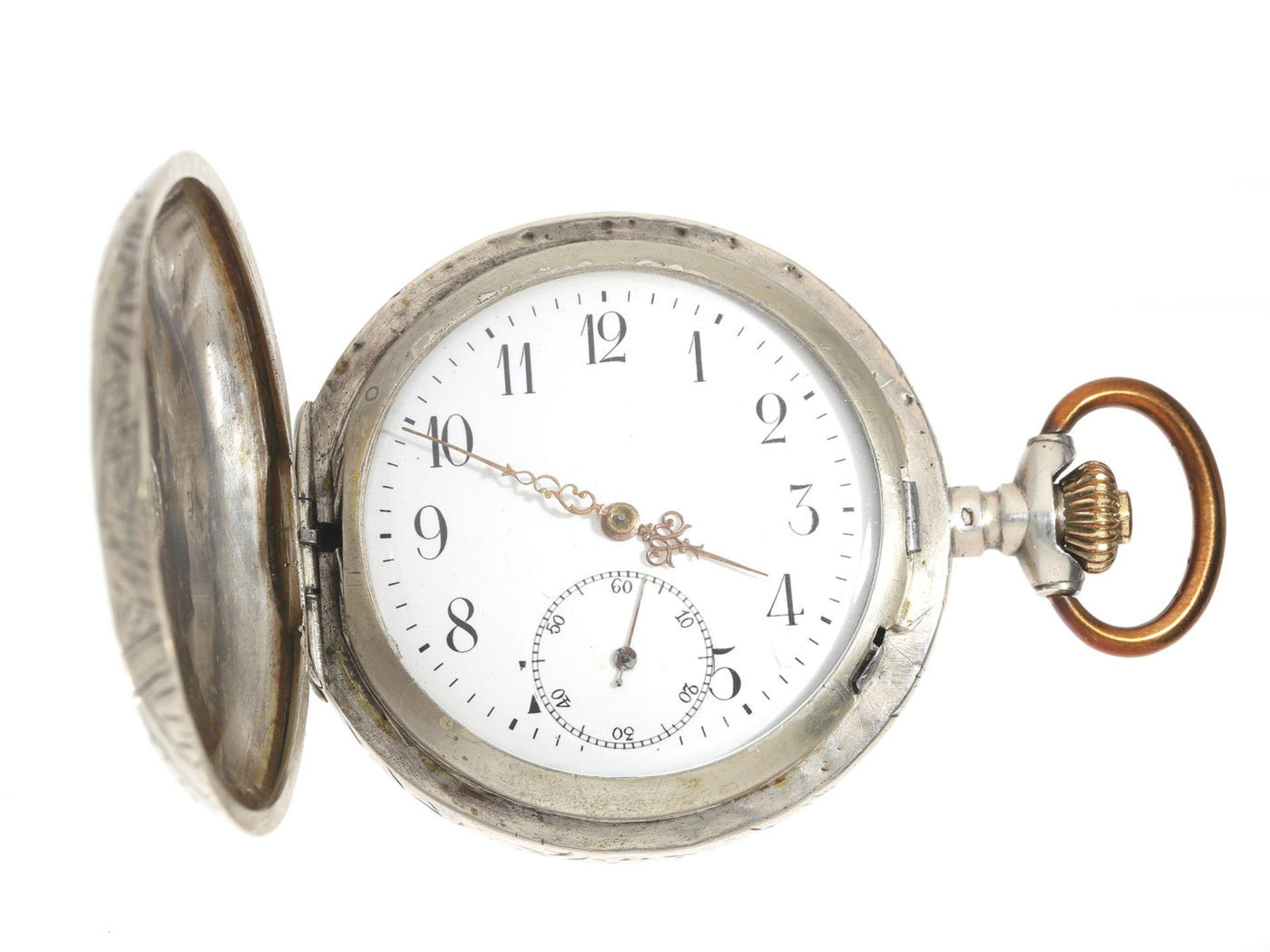 Taschenuhr: frühe Silbersavonnette mit graviertem Gehäuse und Präzisionswerk, Weber & Dubois La