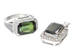Ring/Anhänger: vintage Goldschmiedeset mit Turmalinen und Diamanten, ca. 1950 1. Ring ca. Ø16,5mm,