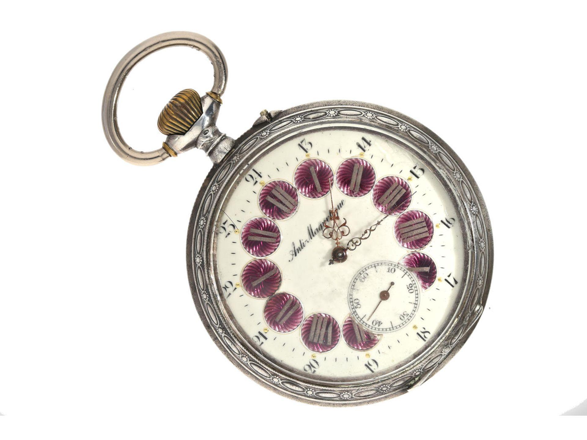 """Taschenuhr: übergroße, silberne Taschenuhr mit dekorativem Kartuschenzifferblatt, Typ """"Regulateur"""