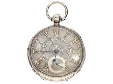 Taschenuhr: besonders schwere englische Taschenuhr mit ausgefallenem Champlevé-Zifferblatt aus