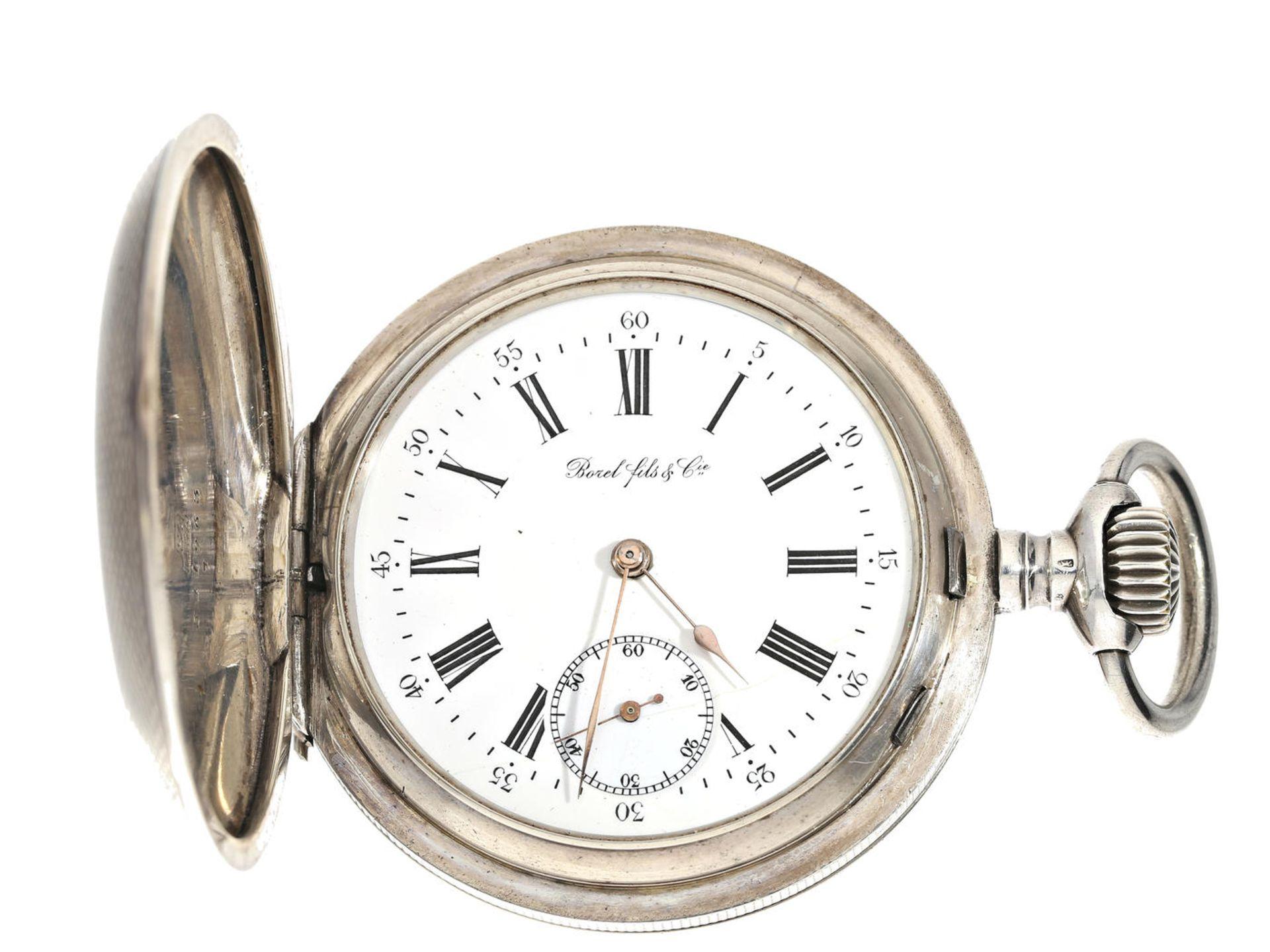 Taschenuhr: besonders große und schwere Silbersavonnette für den russischen Markt,