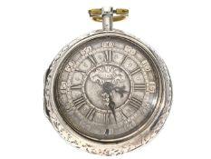 Taschenuhr: museale, ganz frühe englische Doppelgehäuse-Spindeluhr, Richard Colston (1682-1709),
