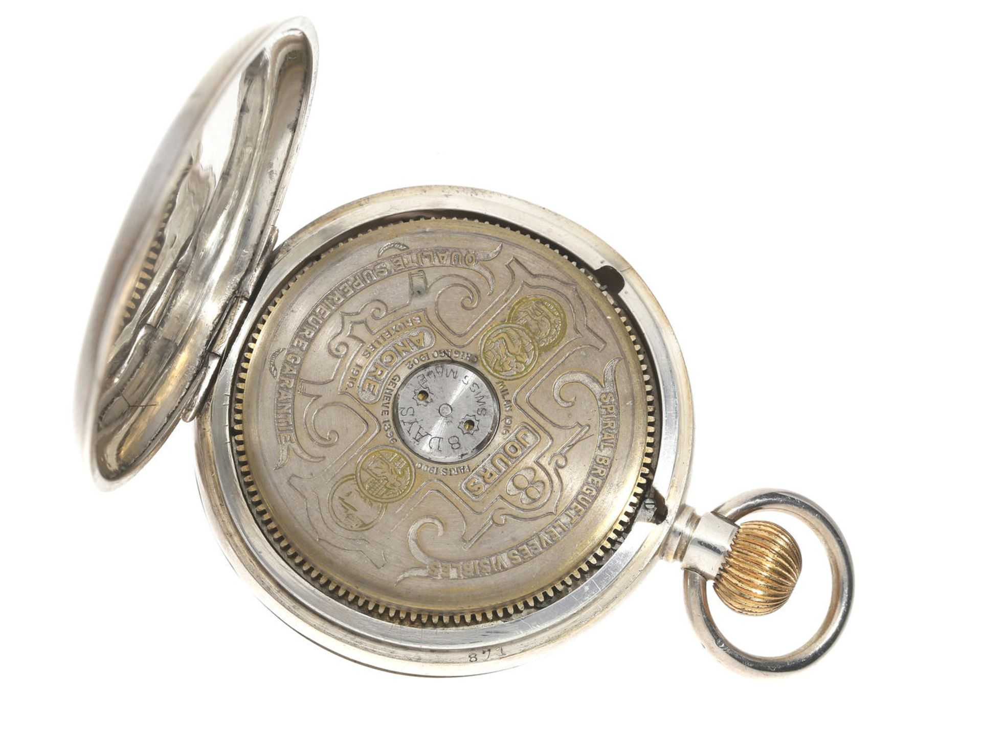 Taschenuhr: Hebdomas 8-Tage-Taschenuhr, um 1920 Ca. Ø48mm, ca. 84g, guillochiertes Silbergehäuse, - Bild 2 aus 3