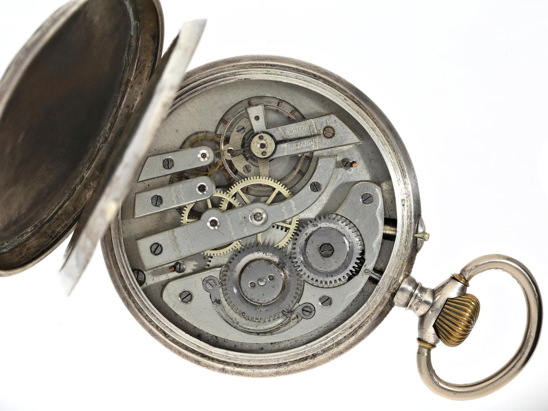"""Taschenuhr: übergroße, silberne Taschenuhr mit dekorativem Kartuschenzifferblatt, Typ """"Regulateur - Bild 3 aus 5"""