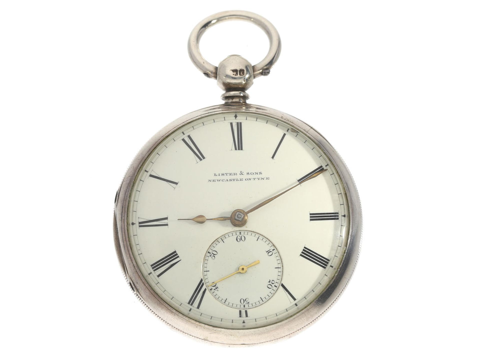 Taschenuhr: englische Taschenuhr mit Kette und Schnecke, Lister & Sons Newcastle on Tyne, 1868 Ca.