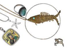 Kette/Anhänger/Ring/Armreif: Konvolut vintage Schmuck 6 Objekte, Silber, teilweise vergoldet,