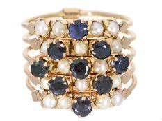 Ring: außergewöhnlicher vintage Goldschmiedering mit 5 beweglichen Schienen, hochwertig besetzt