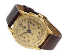 Armbanduhr: vintage Bovet Chronograph, um 1945 Ca. Ø34mm, Edelstahl vergoldet, Edelstahlboden,