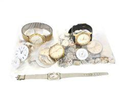 Armbanduhr/Taschenuhr/Uhrwerk: Partie Armbanduhren/Uhrwerke aus Uhrmacher-Nachlass 1. 4 vintage